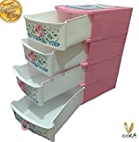 #9: Multipurpose 4 Drawer Plastic Modular Storage Organizer By Cora,Baby undergarments ,Accessories,Diapers etc can be stored,Premium quality organizer can be use for different purposes.