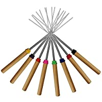 Marshmallow Roasting Sticks ,KEKU Set of 8 Telescoping Rotating Smores Skewers & Hot Dog Fork Kids Camping Campfire Fire…