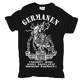 Männer und Herren T-Shirt Germanen - Rauflustig Trinkfreudig Unberechenbar (mit Rückendruck)