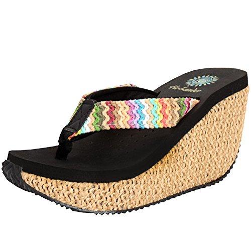 Azbro Women's Fashion Bohemian Wedge Heels Flip Flops Thong Sandals Black
