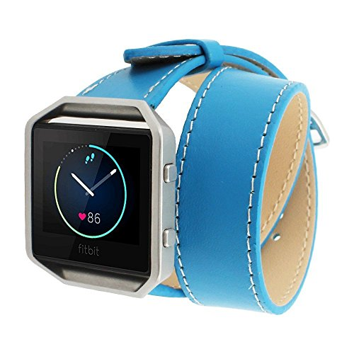 spritechtm-elegance-watchband-replacementleather-barcelet-double-straps-band-wristband-for-fitbit-bl