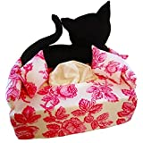 Schwarze Katze auf Rosen - Taschentuchsofa - Handgefertigt