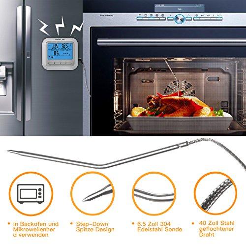 51Nz3Cq8uLL - Fleischthermometer TOPELEK Bratenthermometer Grillthermometer 2 Sonden Haushaltsthermometer Temperatur Voreinstellung, Countdown Timer, Instant Read-Out, Magnetische Montagedesign für Küche, Grill