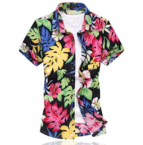 Mirecoo Herren Urlaub Hawaiihemd mit Blatt-Print Kurzarm Shirt Bild Farbe