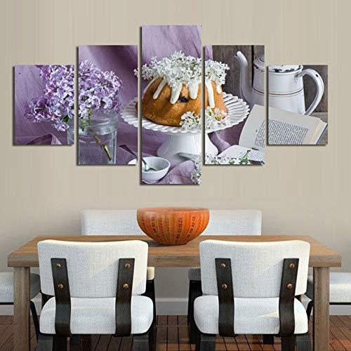 mmwin Drucke Wandkunst 5 Panel Blume Kuchen Buch Bilder Modulare Leinwand Poster Moderne Dekoration Für Nacht Hintergrund -