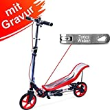 Space Scooter X 590 Premium Rot mit Gravur - für Kinder und Erwachsene bis 120 kg mit 3-Stufen Höhenverstellung - inkl. Namensgravur - SpaceScooter Wipproller X590 Red mit Namen