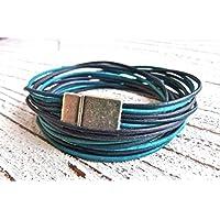Wickelarmband aus Leder Farbmix Atlantik, Geschenk Frau