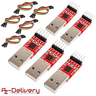AZDelivery ⭐⭐⭐⭐⭐ 5 x CP2102 USB zu TTL Konverter HW-598 für 3,3V und 5V mit Jumper Kabel für Arduino