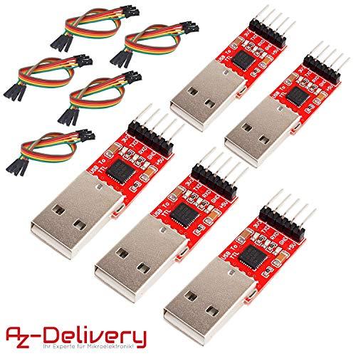 AZDelivery ⭐⭐⭐⭐⭐ 5 x CP2102 USB zu TTL Konverter HW-598 für 3,3V und 5V mit Jumper Kabel für Arduino -