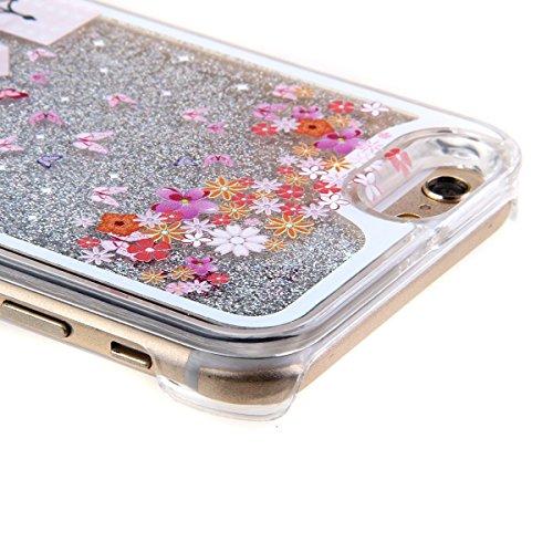 Voguecase® Pour Apple iPhone 4 4G 4S, Argent-sable Luxe Flowing Bling Glitter Sparkles Quicksand et les étoiles Hard Case étui Housse Etui(pissenlit 12/Argent) de Gratuit stylet l'écran aléatoire univ vélo fille
