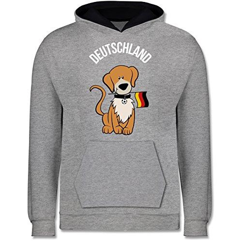 Shirtracer Fußball-Europameisterschaft 2020 Kinder - Fußball Deutschland Hund - 9-11 Jahre (140) - Grau meliert/Navy Blau - JH003K - Kinder Kontrast Hoodie