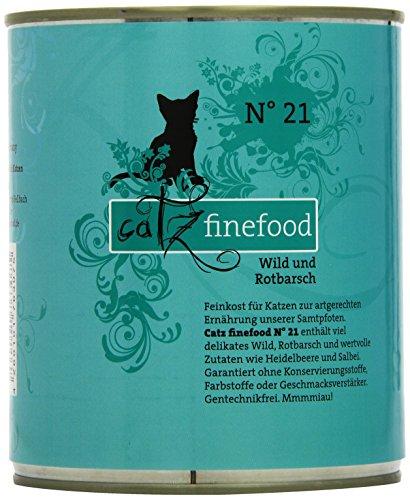 catz finefood N° 21 Wild & Rotbarsch Feinkost Katzenfutter nass, verfeinert mit Kartoffel & Heidelbeere, 6 x 800g Dosen