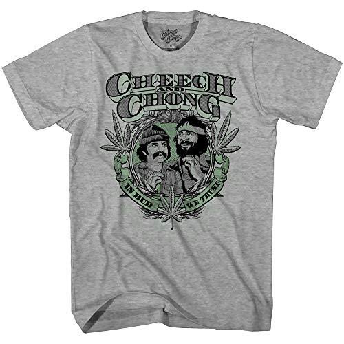 Mad Engine Unisex-Erwachsene Cheech and Chong In Bud We Trust Marijuana Pot Leaf T-Shirt, Heather, Groß -