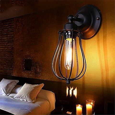 WEXLX Mur de fer de style américain lampadaires lampe pour Salon Chambre à coucher balcon allée diamètre12cm hauteur25cm