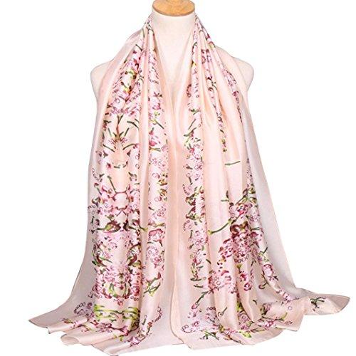 Fulltime®Femelle Écharpes,Echarpes long Wrap souple Foulard Châle Écharpe Satin Rose