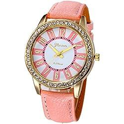 WINWINTOM Women Stainless Steel Analog Leather Quartz Wrist Watch Pink