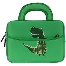 MoKo Funda de Fieltro Universal - Portátil Sleeve Bag 7-8 Pulgadas Bolsa de Neopreno Cover Case para iPad Mini 4 3 2 1 / Samsung Galaxy Tab S2 8.0 / Dragon Touch Y88X Plus Tableta, Dinosaurio Verde