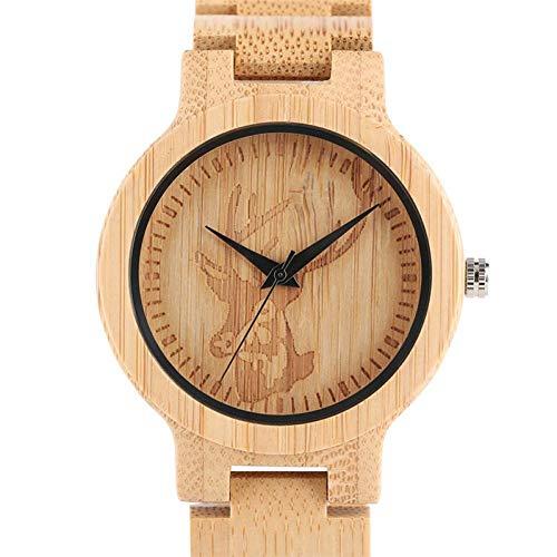 WRENDYY Holzuhren Natürliche Bambus herrenuhr Handwerk Gravur Hirsch elch zifferblatt Sport analog voll Holz Armband Quarz armbanduhren für männer männlich