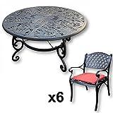 Lazy Susan - JOYCE 135 cm Runder Gartentisch mit 6 Stühlen - Gartenmöbel Set aus Metall, Antik Bronze (KATE Stühle, Terracotta Kissen)