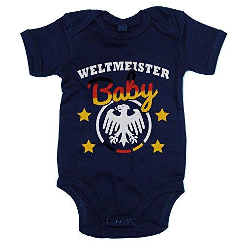 Shirt Department - Baby Body - Weltmeister Baby dunkelblau-weiss 50-62 (Fan-fußball-baby-strampelanzug)