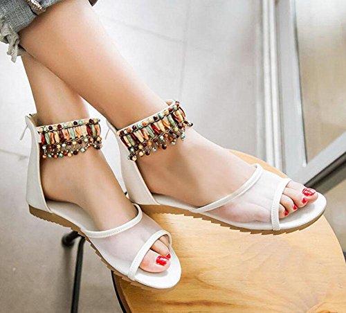 Sandali aperti del piede della caviglia Starp di estate del filetto traspirante del filato dei pattini dei pattini di pendenza della femmina 32-43 Formato White