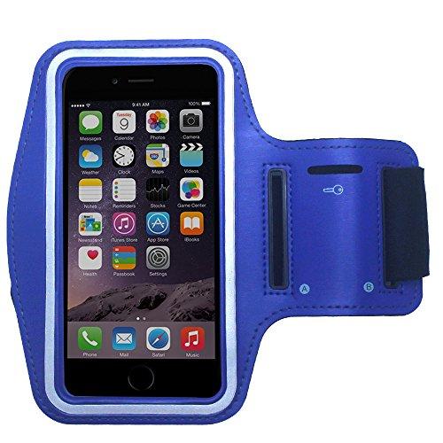 Praktische Sport-Armband Tasche für Huawei P8 / P8 Lite / P6 in Blau mit Schlüsselfach von PrimaCase (Lite-sport-kurz)