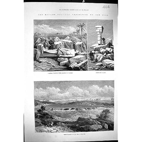 Impresión Antigua de la Catarata Colosal el Nilo Hannek Egipto de Sukkot del Templo de Tumbos de 1884 Minas de la Estatua