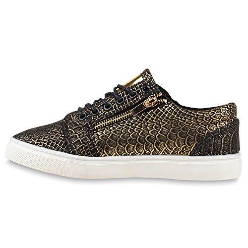 Moderne Damen Sneakers Lack Zipper Sportschuhe Freizeit Schuhe Schwarz Kroko
