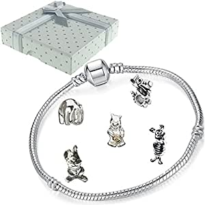 Girls Kids Winnie the Pooh Bear Charm Bracelet with Gift Box