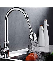 Inditradition 360° Rotating Water Saving Faucet Sprayer | Flexible Kitchen Sink Tap Faucet, Water Filter Nozzle (2 Type Water Flows, Stainless Steel)