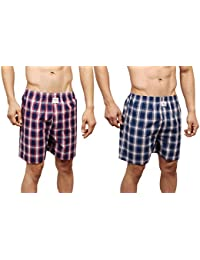 NeskaModa Men's Premium Pack Of 2 Elasticated Cotton Multicolor Boxers With 1 Back Pocket-XB41&XB49