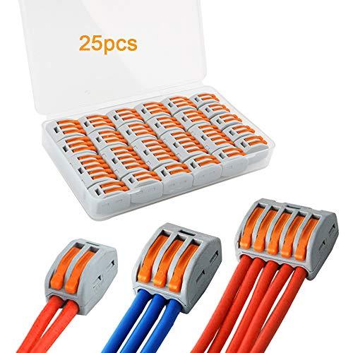 FULARR® 25Pcs Premium PCT-212/213 / 215 Lever-Nut Assortiment Pack, Conducteur Compact Fils Connecteurs, Printemps Bornier Pousser Câble Fil Connecteur –– 2 Port 10Pcs, 3 Port 10Pcs, 5 Port 5Pcs
