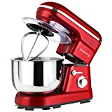 Nestling® 1200W Food Stand Mixer with 5L Bowl, 5 Speed Kitchen Electric,Includes Dough Hook, Whisk, Beater for Wheaten Food, Salad, Cake (Red)