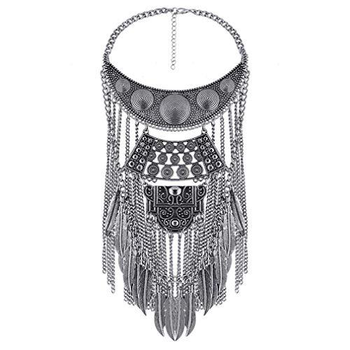 Yazilind Kragen Halsketten Anhänger Vintage Kristall Maxi Choker Statement Silber Collier Boho Frauen Schmuck