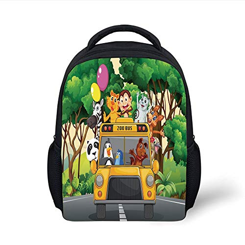 Kids School Backpack Zoo,Animals with Balloons Riding on a Zoo Bus Travel Road Journey in Wilderness Scenery Decorative,Multicolor Plain Bookbag Travel Daypack