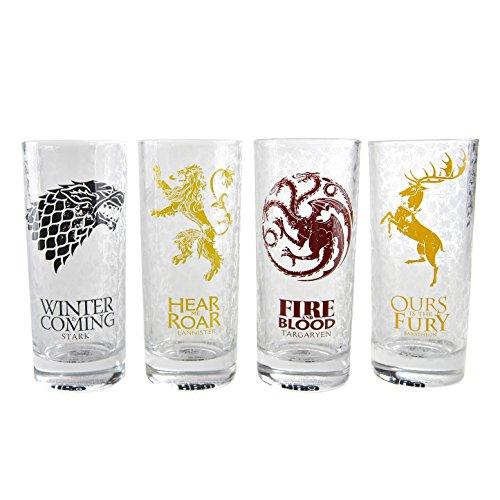 Game of Thrones Gläser 4er Set Alle Häuser, Mehrfarbig, Einheitsgröße, 2
