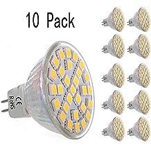 10 piezas 5W MR16 blanco cálido 220V 300 lm SMD 5050 LED empotrada iluminación 3000K Spot lámpara de la bombilla de ahorro de energía