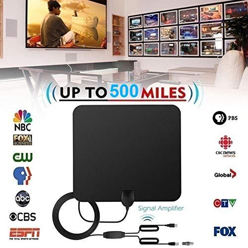 happygirr HD-TV-Antenne, 2019 Digitale HD-Indoor-Antenne mit 500 Meilen Reichweite 4K Ultra HD mit abnehmbarem Verstärkersignalverstärker für 4K / HD/VHF/UHF-Signalkanäle 1080i 720p Tv