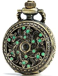 SEWOR delicado Pandent Collar de reloj de bolsillo de cuarzo verde Flor Bronce Caso