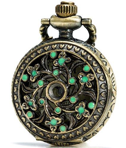 SEWOR Green Flower Bronze Enamel Craft Pattern Japan Quartz Movement Pocket Watch With Double Chain (Metal & Leather)