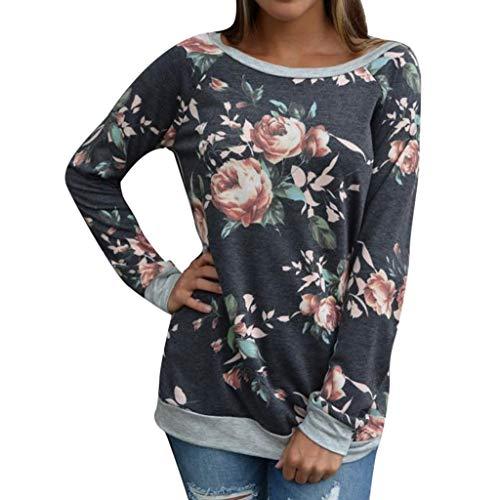 LUGOW Langarmshirt Damen Floral Spleißen Runder Kragen Bluse Hemd Pullover Günstig Lose Blusen Oberteil Shirts Tuniken Tops Online Langarm T-Shirt Sweatshirt(Medium,Grau) -