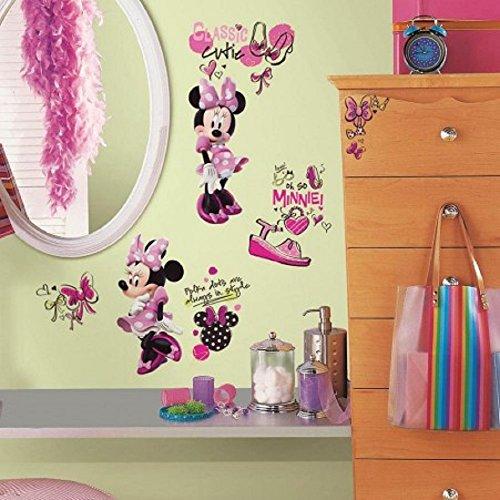 Hochwertiger Wandtattoo Tattoo Wand Tattoo - Minnie Mouse - Minnie Maus - Disney - rosa - künstlerisch mit außergewöhnlichem Design macht die Wand zu einen echten Blickfang