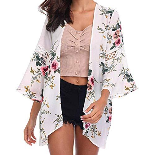 Kimono Cardigan Damen Lace Floral Open Cape Mantel Schwangeren Jacket Strand Mode Sommer Frauen Bikini Cover Up Strandtunika Vintage Young Fashion Blusen (Color : White-1, Size : 2XL)