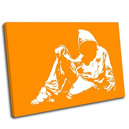 Canvas Culture-Banksy Hoodie Youth Gerahmter Kunstdruck auf Leinwand Bild, Orange, 75 x 50 cm 50 Youth Hoodie