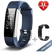 Lintelek ID115Plus HR-BL, Fitness Tracker, Lintelek Large OLED Touch Screen Activity Tracker with Heart Rate Monitor, Sleep Monitor, Connected GPS function and Multiple Sports Modes, IP67 Waterproof Bluetooth Pedometer Wristband for iOS Android Smartphone