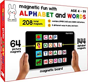 Play Poco Magnetic Fun with Alphabet and Words - with 64 Picture Magnets, 144 Letter Magnets (Capital & Small), Magnetic Board and Spelling Guide