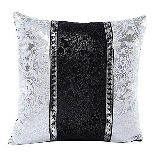 Dekor Kissenbezug (Kissenbezug Silber Splitter Floral Spleiß Dekor , 45cm x 45cm (#3))