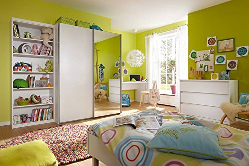 5-tlg. Jugendzimmer in weiß mit Regal (B: 72 cm), Schwebetürenschrank (B: 150 cm), Schreibtisch (B: 150 cm), Kommode (B: 106 cm) und Bett (B: 96 cm)