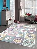 Traum Kinderteppich Spielteppich Teppich Kinderzimmer Karo Design in Pastell, Größe 160x230 cm