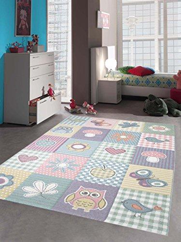 Kinderteppich Spielteppich Teppich Kinderzimmer Karo Design in Pastell, Größe 120x170 cm